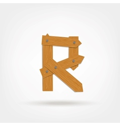 Wooden Boards Letter R vector image vector image
