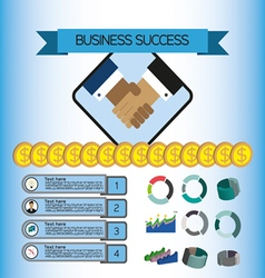 Business success infographic with icons shaking ha vector