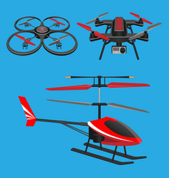 red helicopter dark quadrocopters with and vector image