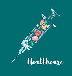 syringe with medical icons for medicine design vector image
