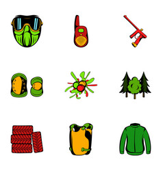 Action icons set cartoon style vector