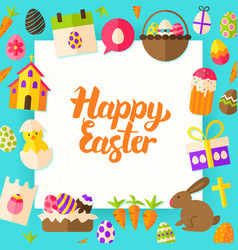 Happy easter paper template vector