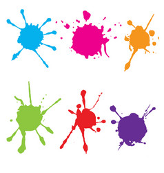 Splatter color paint paint splashe set vector