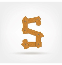 Wooden boards letter s vector