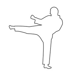 karate man the black color icon vector image