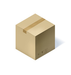 isometric cardboard box isolated on white vector image