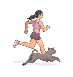Jogging with dog vector image