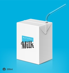 Milk package with drinking straw template vector