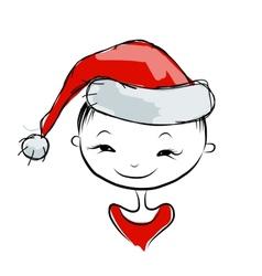Santa girl portrait sketch for your design vector image