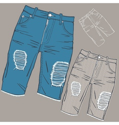 Shabby jeans vector image