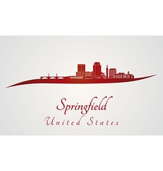 Springfield skyline in red vector