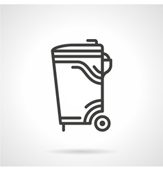 Garbage bin black line icon vector