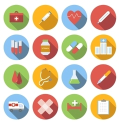 Medicine flat round icon set vector
