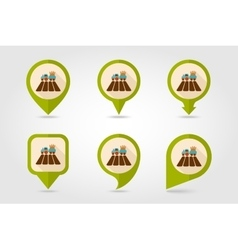 Tractor field flat mapping pin icon vector