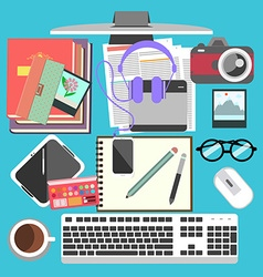 Messy working table vector
