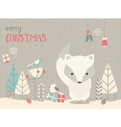Cute christmas arctic baby fox floral decoration vector
