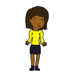 Comic cartoon woman shrugging shoulders vector