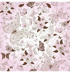 seamless pink easter floral pattern vector image