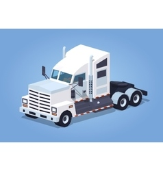 Low poly heavy american white truck vector