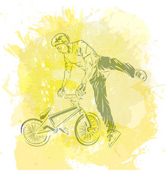 Bike rider jumping vector