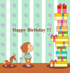 birthday boy and many gifts vector image vector image