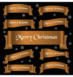 Bronze shiny color merry christmas slogan curved vector