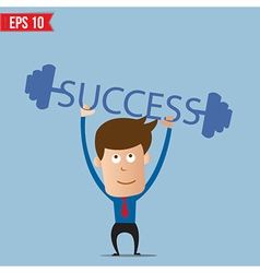 Business man lifting success barbell - - EPS vector image