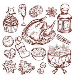 Christmas food menu sketch vector