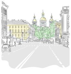 Cityscape the wide avenues vector