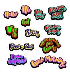 Comic patch text signs vector