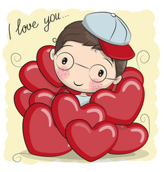 Cute cartoon boy in hearts vector