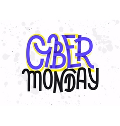 Cyber monday lettering with a glitch effect on whi vector