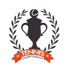 Emblem tennis champioship trophy ball label vector