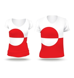 Flag shirt design of greenland vector