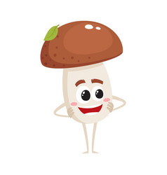 funny porcini mushroom character with smiling face vector image vector image