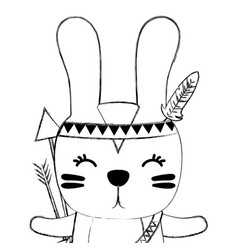 Grunge cute rabbit animal with arrows and feathers vector