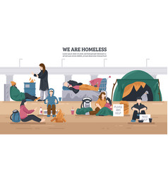 Homeless people horizontal background vector