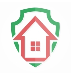 logo house on shield vector image