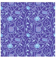 medieval flowers pattern blue vector image vector image