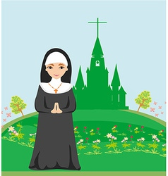 nun praying in front of the church vector image vector image