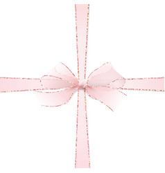 Pink realistic double cross gift bow vector