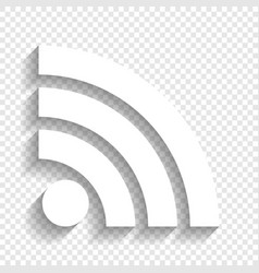 Rss sign white icon with vector