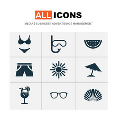 Season icons set collection of smelting goggles vector