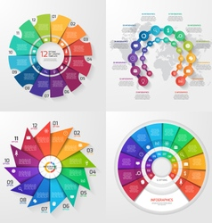 Set of 4 infographic templates with 12 options vector