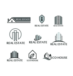 Set of logos real estate eco house Logos in on vector image vector image