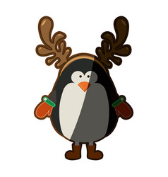 Silhouette christmas of penguin with horns of vector