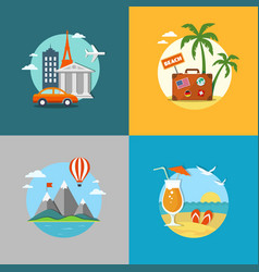 travel and beach flat banners set vector image vector image