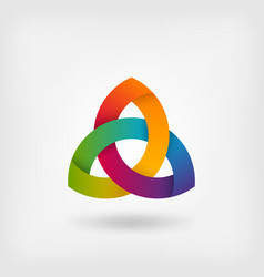 triquetra symbol in rainbow colors vector image vector image