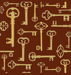 Vintage key seamless background close the door vector