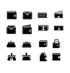wallet icons set 16 item vector image vector image